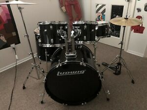 Ludwig Backbeat Complete 5 Piece Drum Set Black Sparkle Includes Pro Coverage $550.00