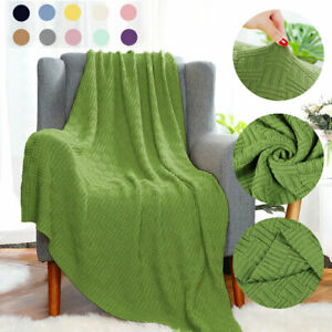 Decorative Cotton Cable Knit Throw Blanket Super Soft Sofa Throw Couch Covers