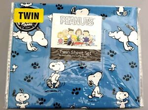 NEW Peanuts Snoopy Woodstock Blue TWIN SIZE Sheets SET Sheet Bedding Paw Prints