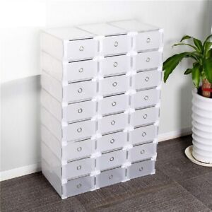 10 boxes Clear Shoe Storage Organizer Plastic Stackable Drawer Shoes Container $20.88