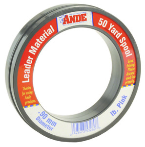 Ande Pink Monofilament Fishing Line Leader 50yd 100% Fluorocarbon