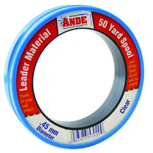 Ande Clear Monofilament Fishing Line Leader 50yd 100% Fluorocarbon