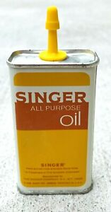 Singer Sewing Machine Oil Can 39 cents Tin Yellow Vintage $10.00