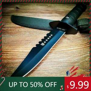 11.22 BLACK TACTICAL HUNTING FIXED BLADE MILITARY COMBAT SURVIVAL KNIFE Sheath $9.99