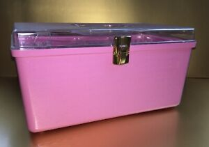 Vintage Wil Hold Wilson Mfg Pink Plastic Sewing Box 1 Clear Storage Tray EUC $21.99