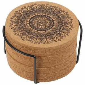 Wooden Coasters 12 Pieces Creative Nordic Round Shape Mandala Design With Rack $14.23