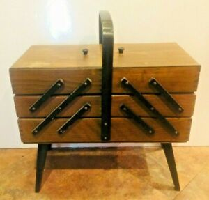 Vintage Mid Century Wood Fold Out Accordion Style Sewing Box Sew $63.74