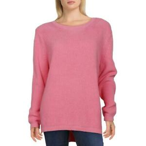 525 America Womens Pink Cotton Ribbed Trim Pullover Sweater Top M BHFO 8760
