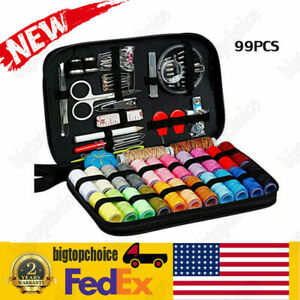 99* Portable Sewing Kit Case Needle Thread Tape Scissor Button For Travel Home $9.40