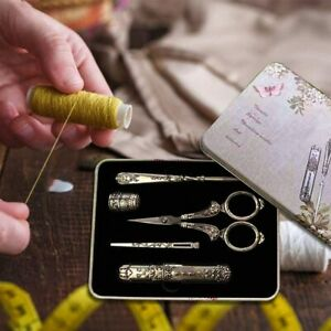 5 Pieces of Antique Sewing Set Awl Thimble Scissors Needle Box Threader $23.99