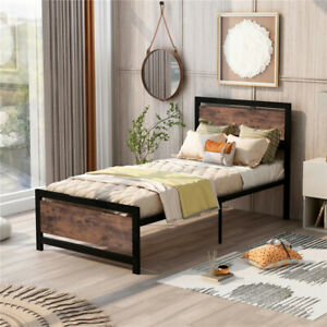 Metal and Wood Bed Frame with Headboard and Footboard Twin Size Platform Bed