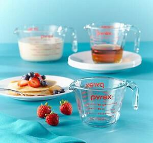 Glass Microwave and Oven Safe Clear Measuring Cup Set 3 Piece