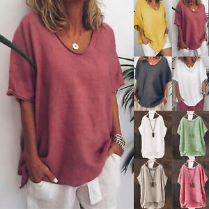Womens Summer Loose Shirts Loose Short Sleeve Linen Blouse Tops Tunic Plus Size $12.15
