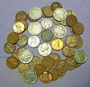 Starter Collection MIX Lot of 50 OLD U.S. Coins with Mercury Silver Dime *100919 $14.99