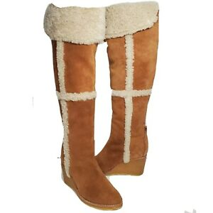 Tory Burch women boots OTK Cassius tan suede shearling wedge over the knee sz 7 $215.00