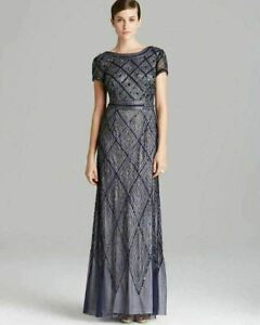 Adrianna Papell Beaded Mesh Gown Sz 4 Navy $131.20