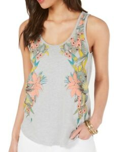 Lucky Brand Women Top Heather Gray Size Large L Floral Print Tank Cami $39 #088