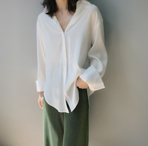 Summer solid color satin luster womens long sleeve thin shirt tops $49.99