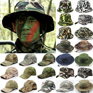 Men#x27;s Military Camo Army Bucket Hat Tactical Boonie Fishing Fishing Caps Outdoor