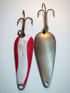 Vintage Spoon Mixed Lure Lot Lure 2 . Wobbler amp; Instant Trout Silver Red White