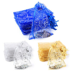 50 100pcs Gift Bags Organza Drawstring Sheer Wedding Party Jewelry Favor Pouch