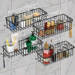 4 Pack Shower Caddy Basket Bathroom Shelf with Hooks No Drill Wall Mounted