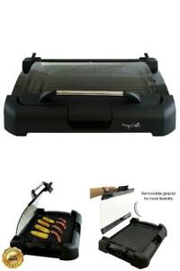 Electric Grill and Griddle Smokeless Non Stick Indoor BBQ Removable Glass Lid