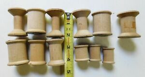 12 Vintage Wooden Thread Spools Small amp; Large Sizes Empty Lot 2 $9.99