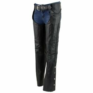 Ladies Braided Motorcycle Biker Style Adjustable Black Leather Chaps ALL SIZES $79.99