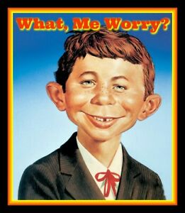 4.5quot; Alfred E. Neuman quot;What Me Worry?quot; vinyl sticker. MAD Magazine decal.