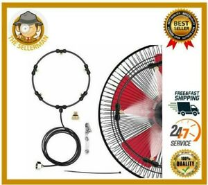 Outdoor Fan Misting Cooling System Kit Cool Patio Breeze Water Mister Spray NEW