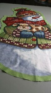 Snowman Puppy Christmas 37x20quot; Fabric Sewing Wall Hanging Panel $6.99