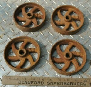 Small Curved 6 Spoke Cast Iron Wheel Set For Gas Engine Hit Miss Truck $80.00