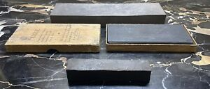 Vintage Antique sharpening stone lot of 3 1 With Original Box And Papers