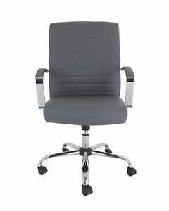 Grandamp;Eight Drake Bonded Leather Executive Chair in Gray