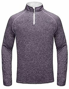 Little Donkey Andy Mens Long Sleeve 1 4 Zip Running T Shirts Quick Dry Pullo... $41.09