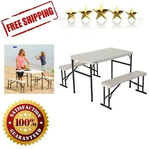 Portable Table Bench Set Folding Camping RV Picnic Lightweight Parties Almond $153.53