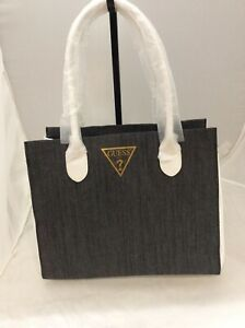 GUESS Tote Bag Grey Denim With White Faux Leather Details New WT $27.00