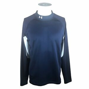 Under Armour Cold Gear Mens Large Fitted Blue White Long Sleeve Mock Neck Shirt $23.97