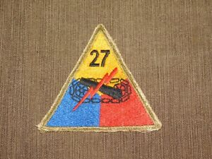 VINTAGE MILITARY TRIANGLE PATCH 27TH ARMORED DIVISION CANNON W LIGHTENING BOLT $23.99