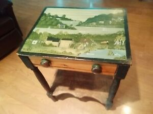 Old Vintage Folk Art Hand Painted Antique Table Purchased in Rhode Island 1980s $299.99