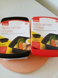 Red Rapid Ramen Cooker Microwave Ramen in 3 Minutes BPA Free and Dishwasher Safe