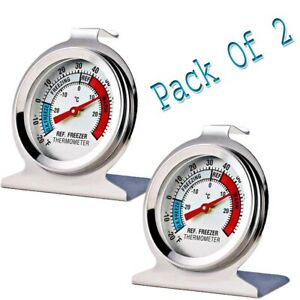2 Pack Refrigerator Freezer Thermometer Large Dial Thermometer Stainless Steel