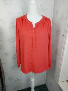 Ann Taylor LOFT Womens Long Sleeve Blouse Size L Large Red Pink Button $7.69