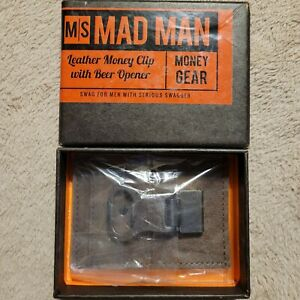 MAD MAN Leather Money Clip with Beer Opener NEW