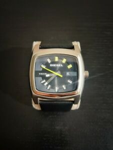 BRAND NEW DIESEL SILVER TONE LEATHER BAND RECTANGLE WATCH DZ1556 55 $38.00