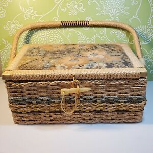 VIntage Sewing Basket Wicker Tapestry Silk Lucite Plastic Closure Cottagecore $29.99