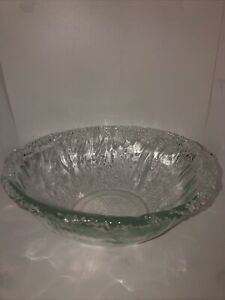 """recycled large glass bowl San Miguel? 12 """" wide 4 """" tall $14.00"""
