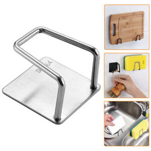 1PC Adhesive Sponge Holder Sink Caddy for Kitchen Accessories Stainless Steel