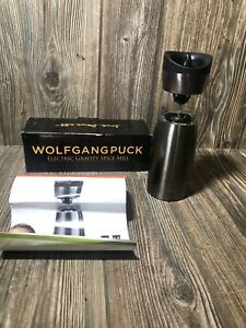 Wolfgang Puck Electric Gravity Salt Pepper Spice Mill Live Love Eat Chrome